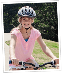 Youth riding bike with Handlebar Helmet